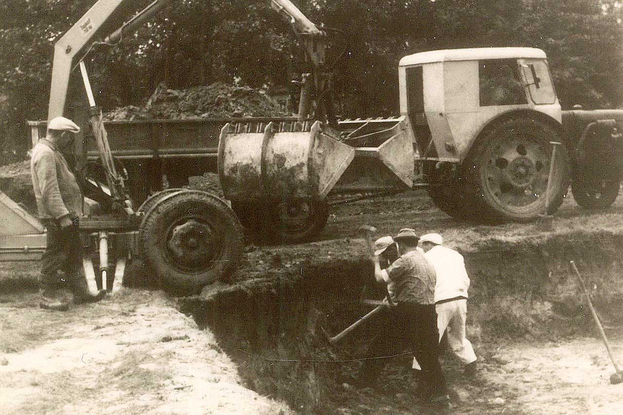 Ausheben einer Fundamentgrube